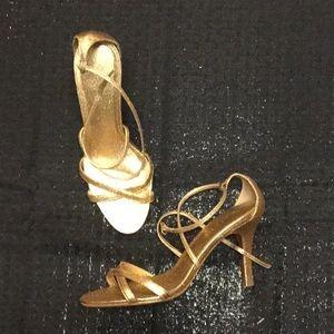 Shimmering Gold Multi Strap Heels